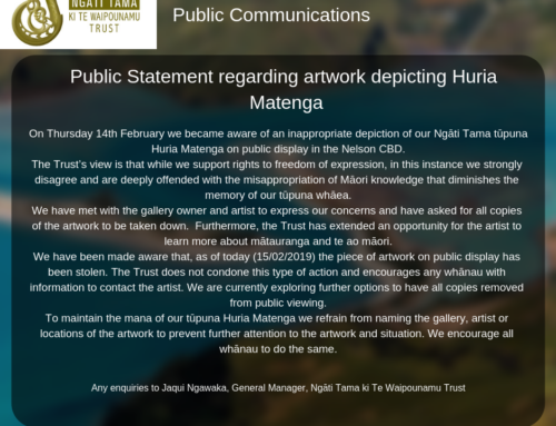 Public Statement regarding the artwork depicting Huria Matenga